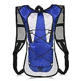 KISSTYLE 自転車バッグ 0.3kg 5L サイクリングバッグ 登山バッグ ランニング 反射シール 軽量 通気性 防水性 デザイン フィット シルエット メッシュ リュック バックパック (ブルー)
