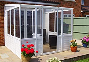 Sunroom conservatory 8ft x 8ft upvc plastic lean to for Lean to garden room