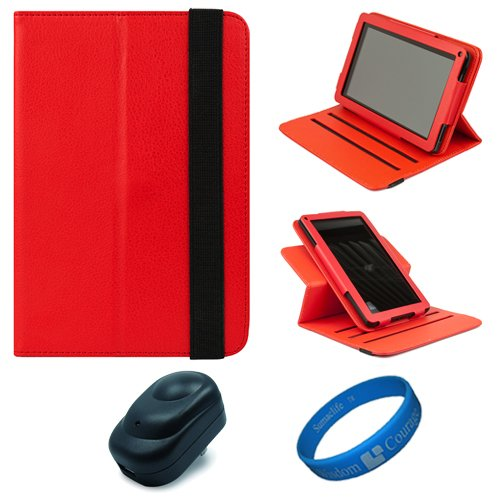 Red Textured Leather Folio Case Cover with Fold to Stand Feature for  Kindle Fire 7 LCD Display, Wi Fi, 8GB Android Tablet Designed for 2011 and 2012 Models + Black USB Wall / Home Charger + SumacLife TMWisdom Courage Wristband