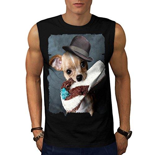 Cucciolo pantofola andare a prendere cagnetto Uomo Nuovo Nero M T-Shirt Senza Maniche | Wellcoda