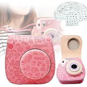 [モノジー] MONOZY チェキ instax mini8 専用 ケース フォトステッカー セット 速写 カメラ ピンク チェキ バッグ