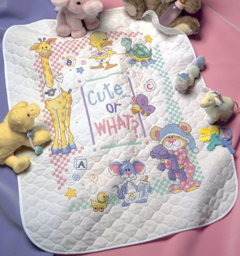 Dimensions Needlecrafts Stamped Cross Stitch, Cute Or What? Baby Quilt front-444619