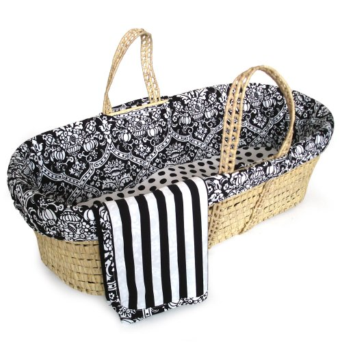 Tadpoles Damask Moses Basket In Black And White
