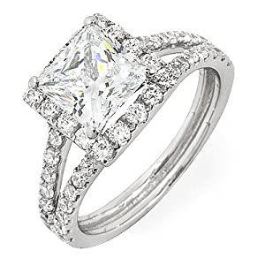 1.42ct Princess Brilliant Cut Diamond Engagement Ring Halo Split Shank on 14k Solid Gold