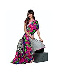 101cart Attractive Floral Printed Faux Georgette Saree