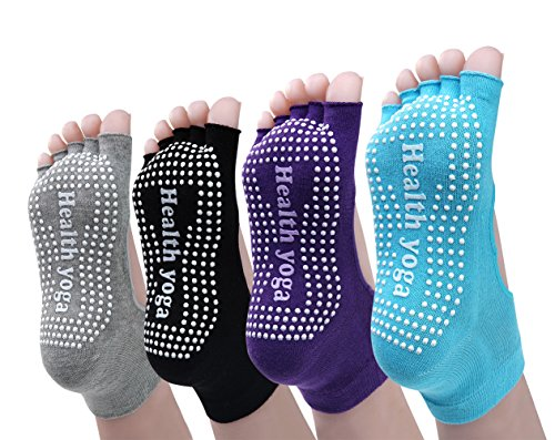 Cosfash Non Slip Skid Yoga Pilates Barre Socks with Grips for Women and Men 4 Pairs, Black/Grey/Purple/Blue, One Size