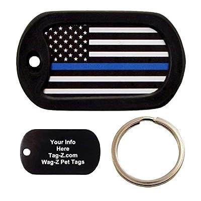Custom Engraved Pet Tag - Thin Blue Line Flag - Dog Tag - Tag-Z Wag-Z