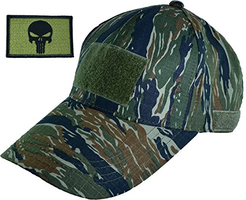 Ranger Return Tactical Military Tiger Army Camo Camouflage Baseball Velcro Adjustable Hat Cap with Tactical Morale Operator Punisher Skull Velcro Backing Patch - OD (Olive Drab)_(RR-CAMO-TGER-TCAP-WPUN-00OD) Tiger Stripe Camouflage Shorts