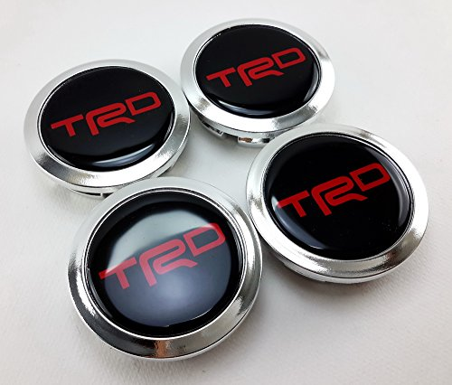 TRD Silver Chrome Letter Red Center Wheels Hub Caps Cup Cover Size 58mm. Set of 4pcs. (Bullitt Emblem compare prices)
