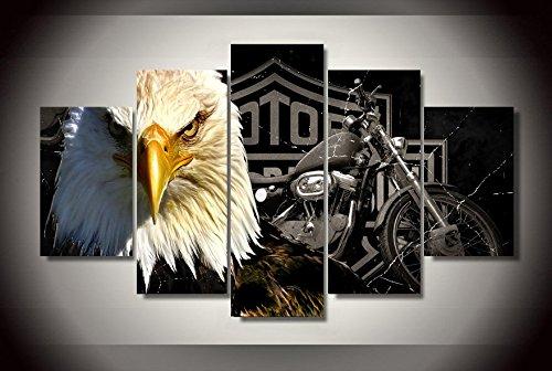 eagle-moto-harley-davinson-stampa-su-tela-5-pezzi