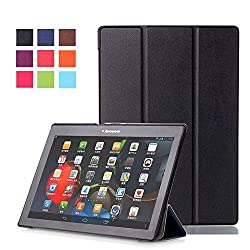 Lenovo Tab 2 A10-30F Case, Pasonomi Ultra Slim Lightweight PU Leather Folio Case Stand Cover With Smart Cover Auto Wake / Sleep Feature for Lenovo Tab 2 A10-30F 10-inch Tablet (Black)