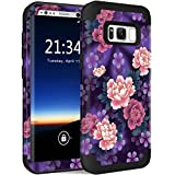 Galaxy S8 Plus Case, Hocase Drop Protection Shockproof Silicone Rubber Bumper+Hard Shell Hybrid Dual Layer Full-Body Protective Case for Samsung Galaxy S8 Plus 2017 - Voilet Flowers / Black
