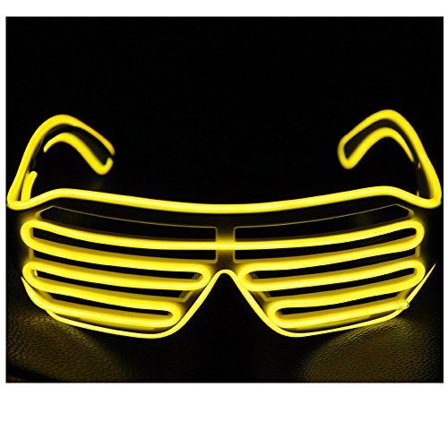 Light Up EL Shutter Glasses Wire Glasses (white, yellow)
