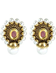 The Jewelbox Antique Pearl Ruby Stud Earring For Womens