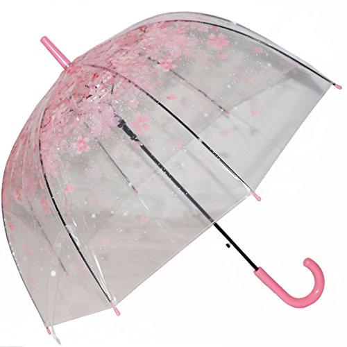 Tinksky Blase Regenschirm romantische kirsche klar regen regenschirm halb-Automatik