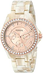 Fossil Women's ES3579 Riley Rose Gold-Tone Watch with Pearlized Resin Bracelet