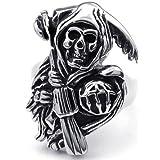 KONOV Jewelry Stainless Steel Band Casted Grim Reaper Skull Biker Men's Ring, Black Silver