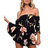 Relipop Women's Summer Floral Off Shoulder 3 4 Sleeves Romper Jumpsuit (Medium, Black)