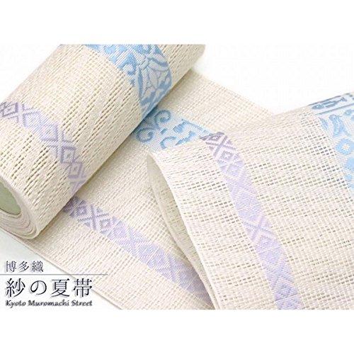 紗の半幅帯 本場筑前博多織 正絹 紗の四寸単帯「生成り 水仙」SSH273