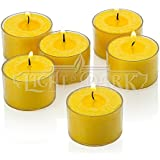 Set Of 36 Yellow Citronella Tealight Candles With Clear Cup Burn 8 Hour , In A Box By Light In The Dark