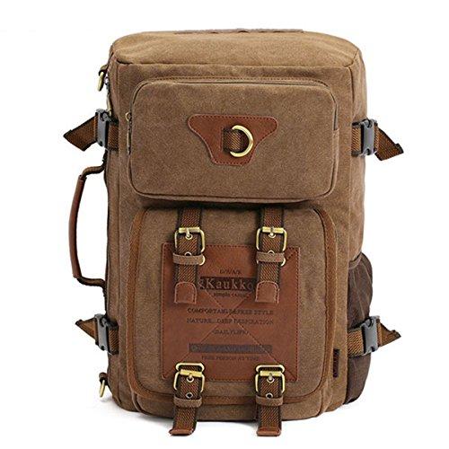 3-in-1 Zaino Canvas,CAMTOA Outdoor Vintage Zaino/Handbag/ Borsa a Tracolla/Crossbody Bag/Messenger Bag- 3 Modi per Utilizzare - Perfetto per Arrampicata / Escursioni / Viaggi /Outdoors