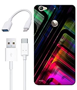 Combo of Abstract Art HD UV Printed Mobile Back Cover, Charging Cable and OTG Cable For Letv Le 1S