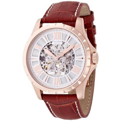 [フルボデザイン]Furbo Design 腕時計 自動巻き 両面スケルトン ステンレススチール ピンクゴールド 茶革 シルバー メンズ F5021PSIBR メンズ