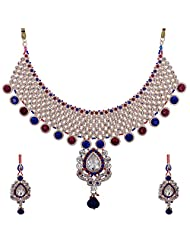 Lucky Jewellery Rani And Blue Guluband Necklace Set With Mang Tika For Women