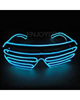Enjoydeal El Wire Neon LED Light Up Shutter Shaped Glasses for Rave Costume Party with Battery case Controller