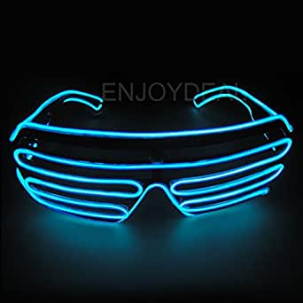 Enjoydeal El Wire Neon LED Light Up Shutter Shaped Glasses