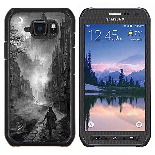 Copertura di plastica Shell Custodia protettiva || Samsung Galaxy S6 Active G890A || Nero Pittura White Castle Vampire @XPTECH