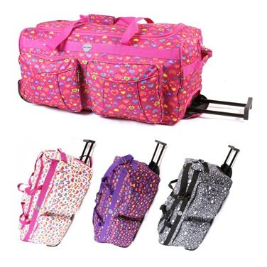Womens Girls Hearts Hand Luggage Maternity Gym Wheeled Travel Bag (Grey/Pink/Purple/White) (18