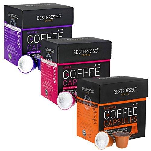 Nespresso Compatible Gourmet Coffee Capsules-60 Pod Variety Pack for Original Line Nespresso Machine -Bestpresso Brand Certified Genuine Espresso- Intense Variety Pack -60 Days Satisfaction Guarantee (Nespresso K Cups compare prices)