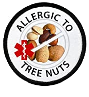 ALLERGIC to TREE NUTS Allergy Medical Alert 3 inch Black Rim Patch by Creative Clam