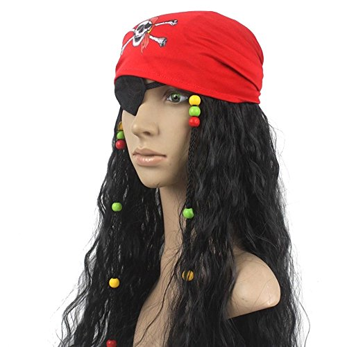 DAYISS Caribbean Pirate Cosplay Costume Halloween Wig
