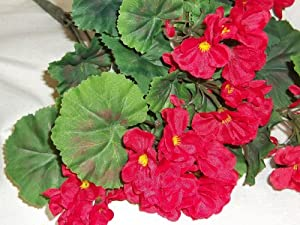 "THREE 18"" Artificial Geranium Flower Bushes in Red for Home, Garden Decoration"