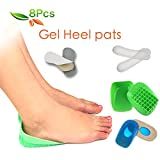 HLYOON --H01-- Heel Pads and Heel Grips Feet Health Orthotic Device Kit - 8 Pieces of Heel Cups, Heel Inserts, Plantar Fasciitis Insoles, Arch Support, Heel Spur, Heel Protectors, Foot Pads.
