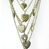 DaisyJewel Bouquet of Heart Pendants and Heart Locket Necklace: 8 Individual Pendants with One Locket Hang From Six Separate Link Chains Connected By One Lobster Clasp