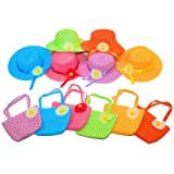 6 Girls Tea Party Sun Hat and Purse Sets. Includes 6 Purses & 6 Daisy Flower Sunhats
