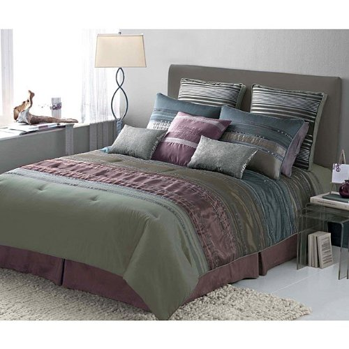 Jenny George JG101PCDCS4K Rainier Pieced Comforter Set With Iridescent Pleating King