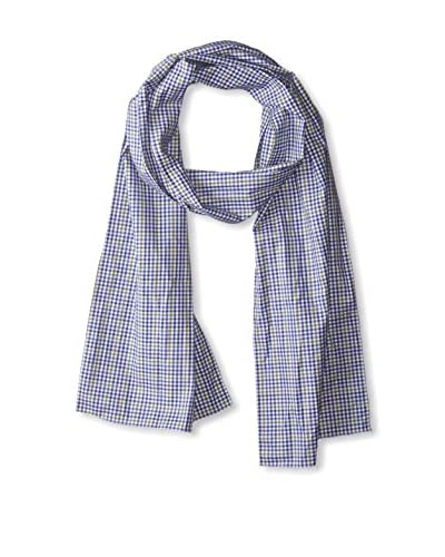 J. McLaughlin Men's Cotton Check Scarf, White/Olive/Royal Blue