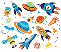 Outer Space Kids Room/Nursery Peel and Stick Wall Sticker Decals from CherryCreek Decals