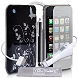 Apple iPhone 3 / 3G / 3GS Accessory Pack Designer Black And Silver Butterfly Flower Hard Hybrid IMD Case Cover With Stylus Pen Car Charger Screen Protector And Grey Micro-Fibre Polishing Clothby Yousave