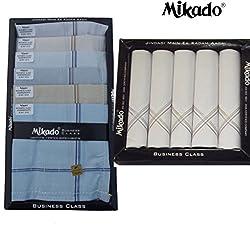 Mikado 100% Cotton Handkerchiefs Combo of 10PCS & 5PCS box for Men (15 pcs)