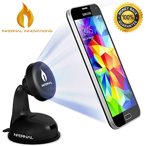 #1 Rated Magnetic Phone Mount | Universal Phone Holder for Windshield & Dashboard | Strong Suction Gel | FREE BONUS GIFT 75mm Adhesive Disk Included |For Samsung Galaxy S5/S4/S3, Note 4/3, iPhone 6 &