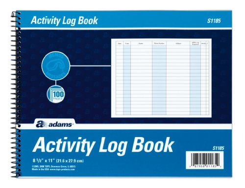 Adams Activity Log Book, Spiral Bound, 8.5 x 11 Inches, 100 Pages, White (S1185ABF) (Call Register compare prices)