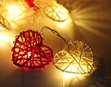New LED Red & White Hearts Rattan Wicker Fairy Light String 220V UK Kite Mark Mains Powered lights - by DALEK DESIGNS TM