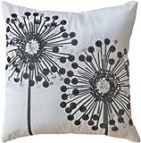 """Decorative Black Sequins Dandelion Floral Throw Pillow COVER 18"""" White Black"""