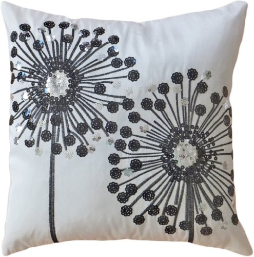 Decorative Black Sequins Dandelion Floral Throw Pillow COVER 18