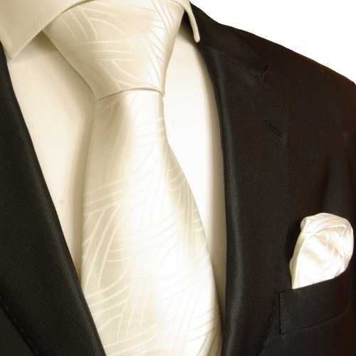 Necktie Set 2pcs. Tie & Handkerchief by Paul Malone ivory wedding tie for men